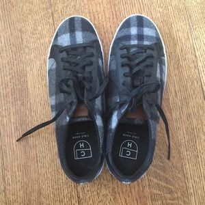 Cole Haan Plaid Black and White Wool Sneakers